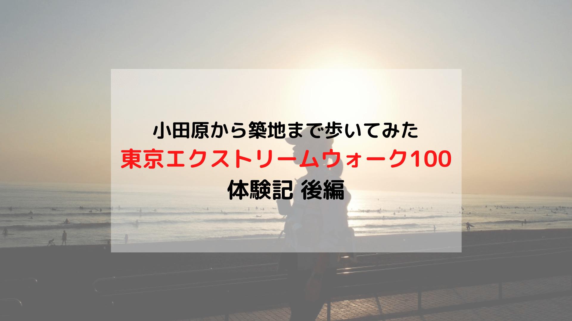 「東京エクストリームウォーク100」体験記 小田原-築地間を歩いてみた 後編